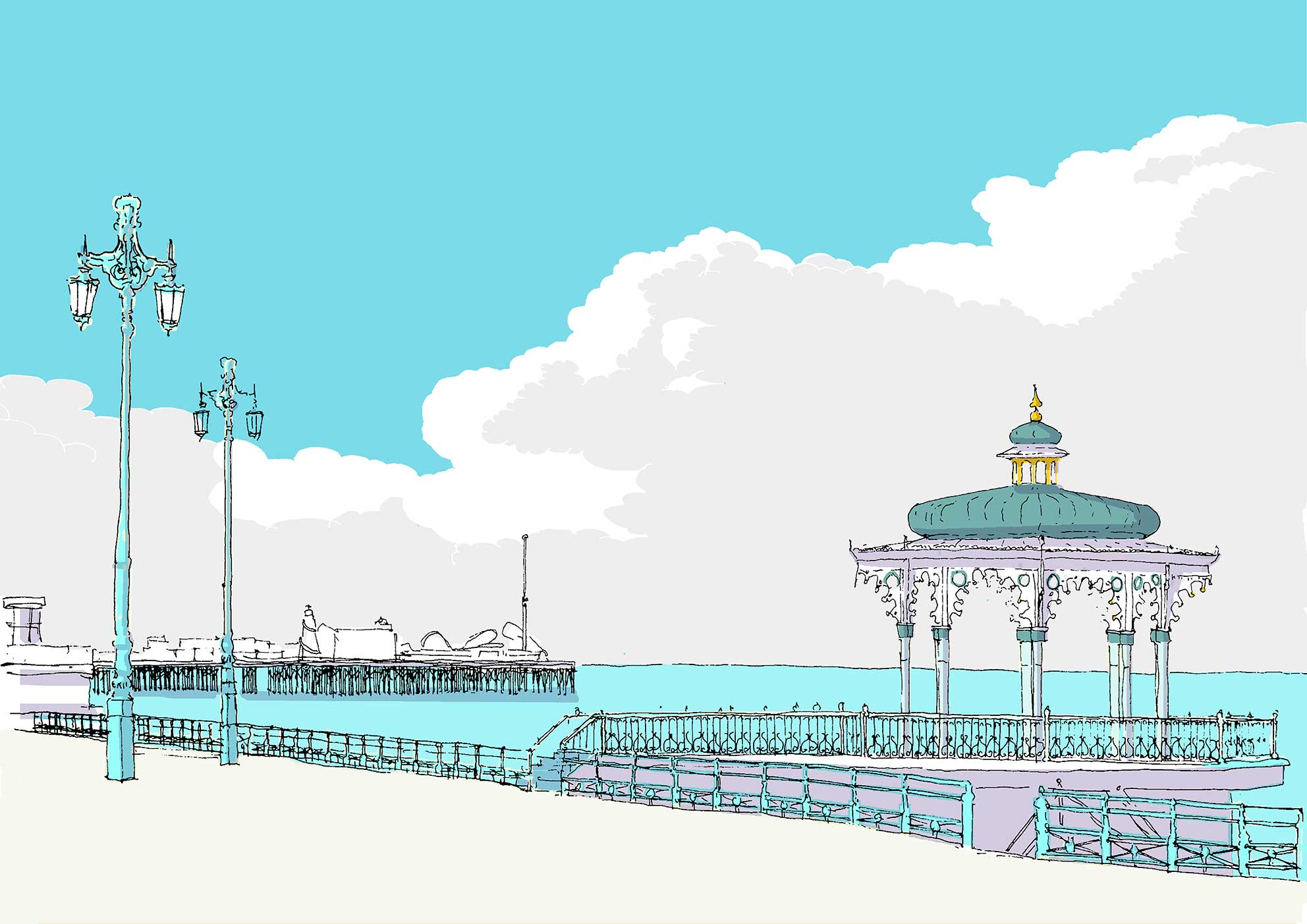 alej ez Brighton Band stand and pier 29.7x21