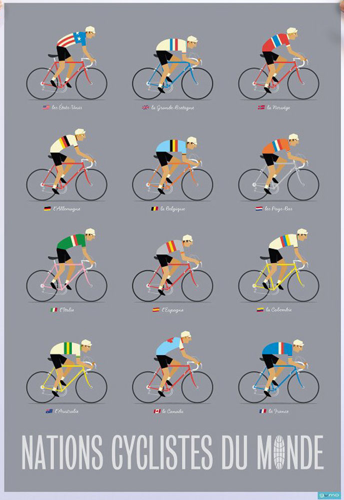 Cyclists of the World Poster Large Grey edited