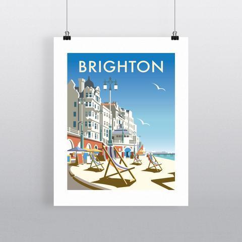 Brighton Beach By Illustrator Dave Thompson tea towel