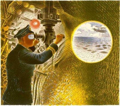 Commander of a Submarine Looking Through Periscope by Eric Ravilious