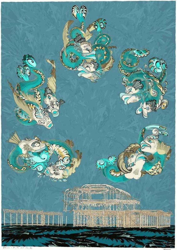 Dolphins of Brighton West Pier by Alejandro Martinez (Alej ez)