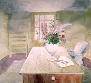Flowers on Cottage Table by Eric Ravilious