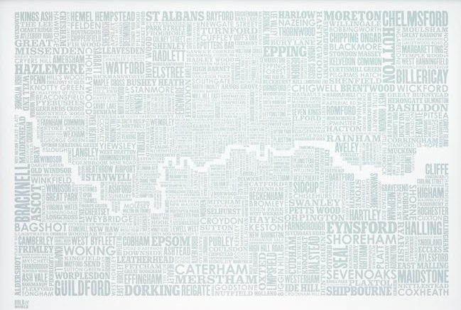 London and beyond Type Map in Duck Egg Blue by Bold & Noble