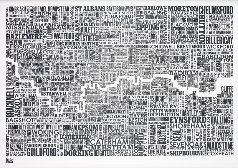 London and beyond Type Map in Sheer Slate by Bold & Noble
