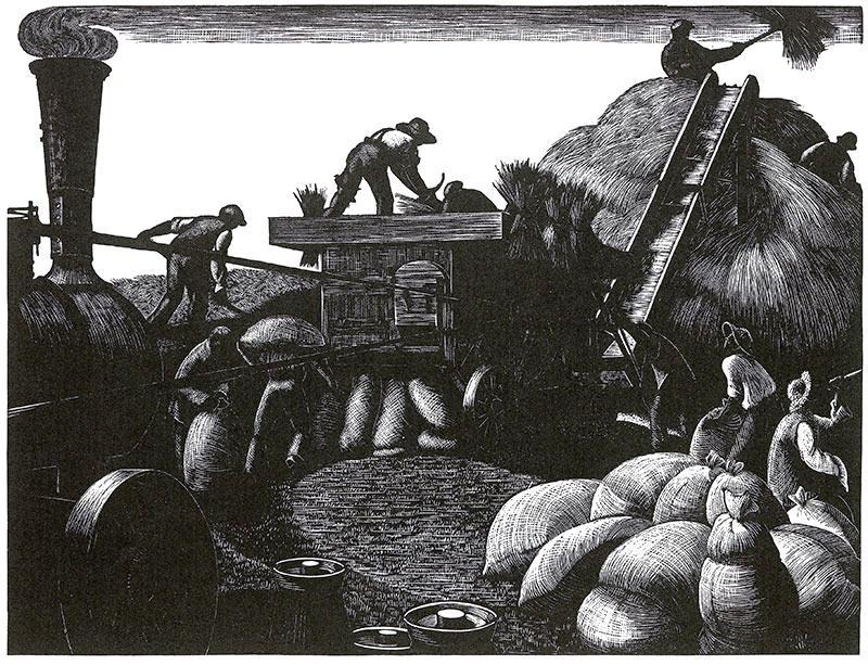 March: Threshing by Clare Leighton