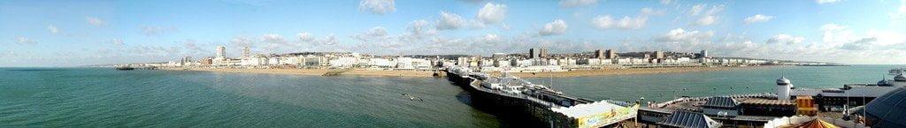 Panoramic image of Brighton taken from Bighton Pier (PRINT) by unkown