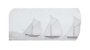 Three Sailing Boats in a Line by Alfred Wallis