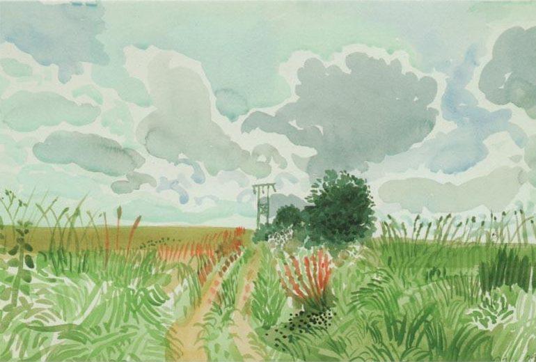 Cart Track and Pylon by David Hockney