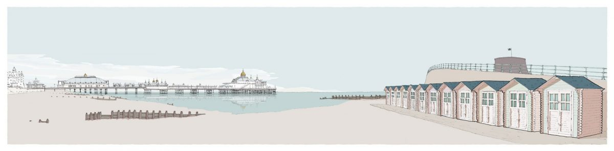 Eastbourne-Pier-and-Huts-Pebble-Beach-by-Alej-ez