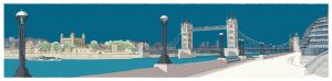 London River Thames by Tower Bridge Ocean Blue by Alej ez